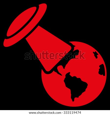 Ufo Explores Earth vector icon. Style is flat symbol, red color, rounded angles, black background. - stock vector