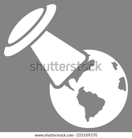 Ufo Explores Earth vector icon. Style is flat symbol, white color, rounded angles, gray background. - stock vector