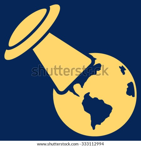 Ufo Explores Earth vector icon. Style is flat symbol, yellow color, rounded angles, blue background. - stock vector