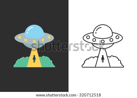 UFO flat and line style vector icon - stock vector