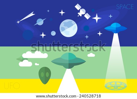 ufo fly space cosmos stars flat element set - stock vector