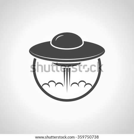UFO Flying Saucer Icon - stock vector