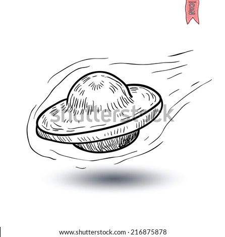 Ufo icon Pencil drawing sketch. Vector illustration.