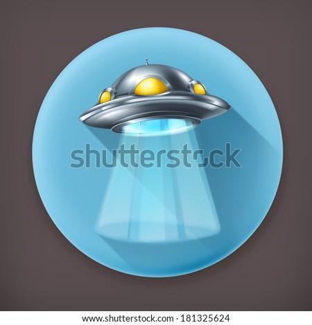 UFO, long shadow vector icon - stock vector