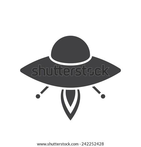 UFO, modern flat icon - stock vector