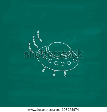 UFO. Outline vector icon. Imitation draw with white chalk on green chalkboard. Flat Pictogram and School board background. Illustration symbol - stock vector