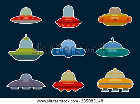 Ufo Spaceships set, vector - stock vector