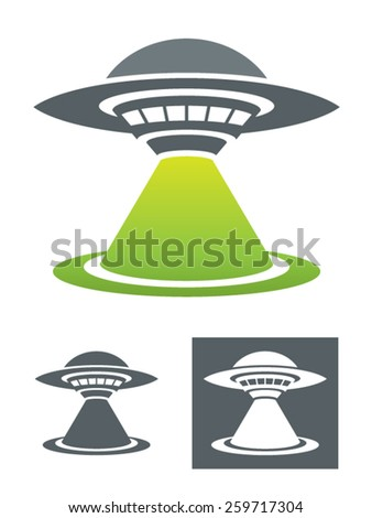 UFO Vector Illustration.Usable as a drawing or logo template. Colorful and monochromatic black and white versions. An original flying saucer with his tractor beam. - stock vector