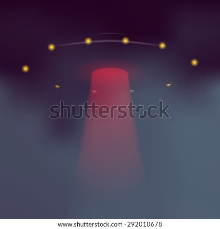 UFO with dramatic red light beam. Vector alien flying saucer on dark abstract background. - stock vector