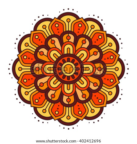 Ugadi And Gudi Padwa The New Years Day Vector Floral Pattern Illustration Orange Yellow