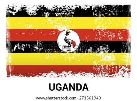 Uganda grunge flag isolated vector in official colors and ...