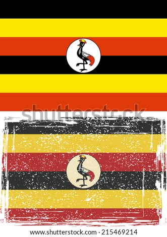 Uganda grunge flag. Vector illustration. Grunge effect can be cleaned easily.
