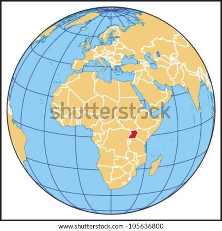 Uganda Locate Map - stock vector