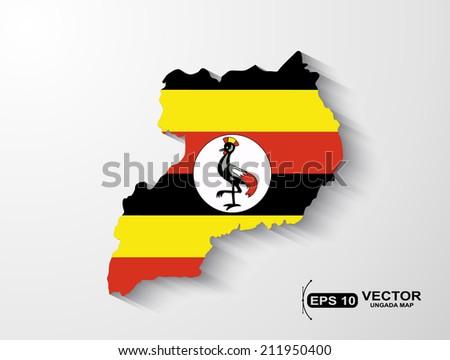 Uganda map with shadow effect - stock vector