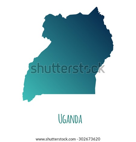 Uganda vector map with color gradient and caption on white background. Can be used as element of your infographics or presentation - stock vector