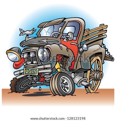 Ugly broken down old pickup truck - stock vector