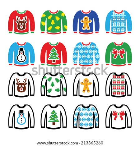 Ugly Christmas sweater on jumper icons set  - stock vector
