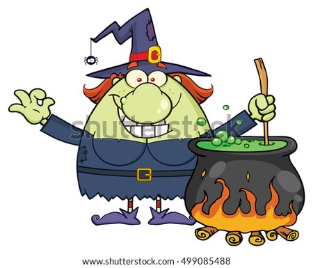 ugly halloween witch cartoon mascot character preparing a potion in a cauldron vector illustration isolated - Halloween Witch Cartoon