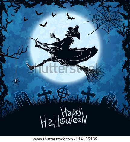 Ugly witch flying over cemetery. Blue grungy halloween background. Vector Illustration.