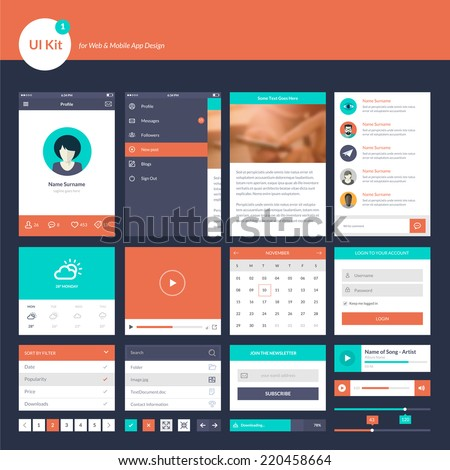 UI and UX kit for website and mobile app designs     - stock vector