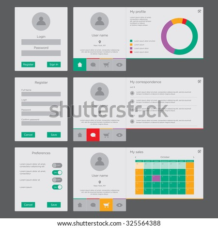 UI and UX vector mockup for website and mobile app design.