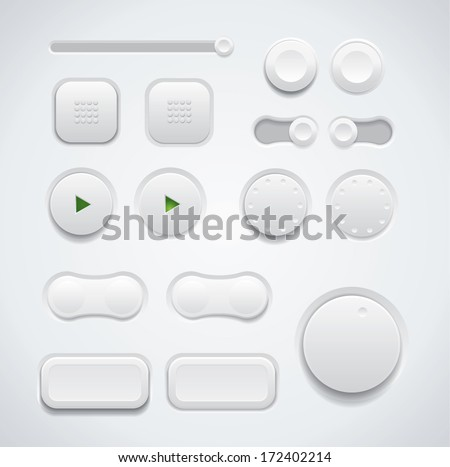 UI button set including switches and push buttons in different design variations - stock vector