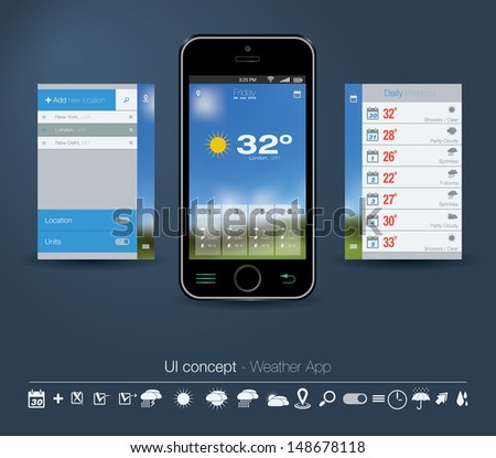 UI concept for Weather App. Editable vector format.