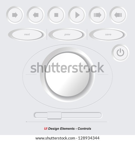 UI Controls Web Elements 4: Buttons, Switchers, On, Off, Player, Audio, Video: Play, Stop, Next, Pause, Volume, Equalizer - stock vector