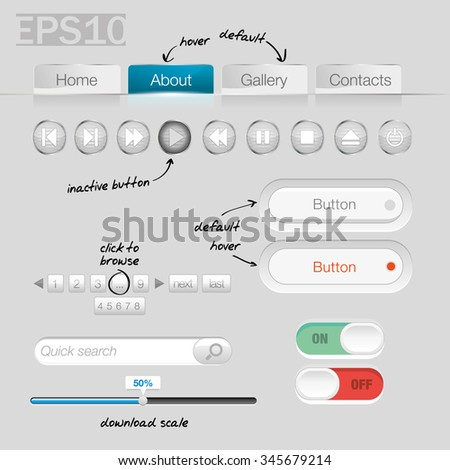 UI Controls Web Elements (White)