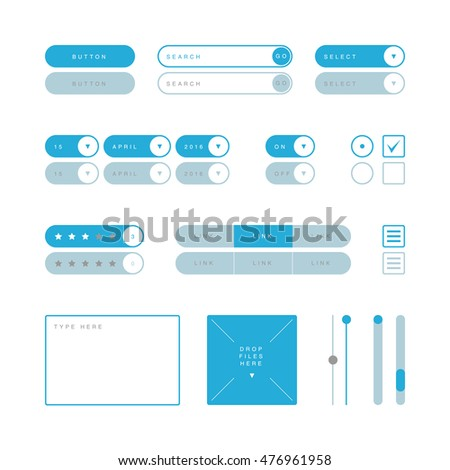 UI design elements vector. Button, search field, selector, checkbox, toggle, radio button, menu links, rating stars, text type field, drop files field, scroller etc.