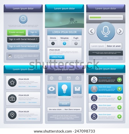 UI design. UI and UX kit for website and mobile app designs. Vector eps 10.