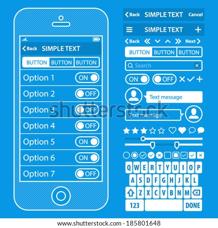 UI elements blueprint design vector kit in trendy color with simple mobile phone, buttons, forms, windows and other interface elements. Settings screens - stock vector