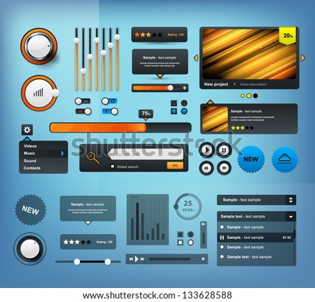 UI Elements Design black, Web site design - stock vector