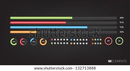 UI Elements Design, Web site design, Web buttons. - stock vector