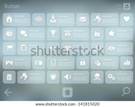 UI elements for Tablet PC or Smart phone. User interface template. Vector illustration. EPS 10. - stock vector