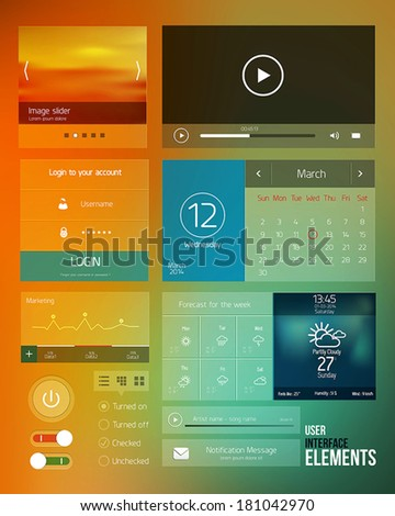 UI elements for web and mobile.Icons and buttons.Modern design. Vector - stock vector