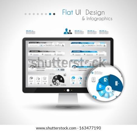 UI Flat Design Elements in a modern HD screen computer: Web and Infographics theme. - stock vector