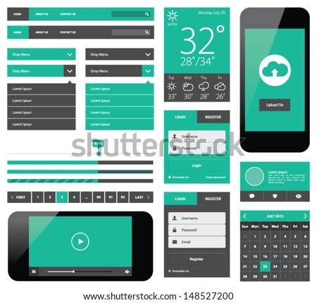UI flat design web elements - stock vector