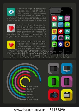 Ui, infographics and web elements including flat design. EPS10 vector illustration - stock vector