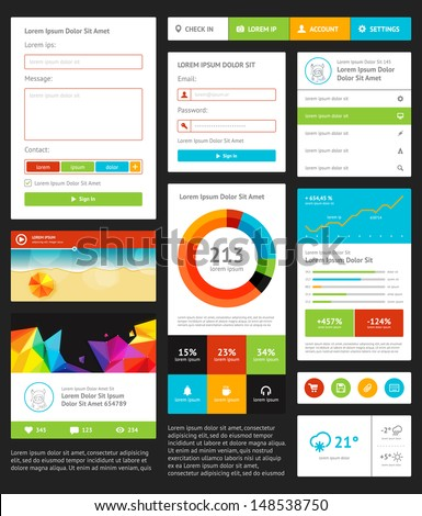 UI is a set components featuring the flat design - stock vector