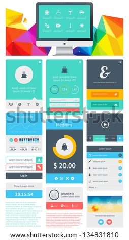 UI is a set of beautiful components featuring the flat design trend EPS10. - stock vector