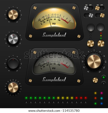 UI Kit, audio equipment - stock vector