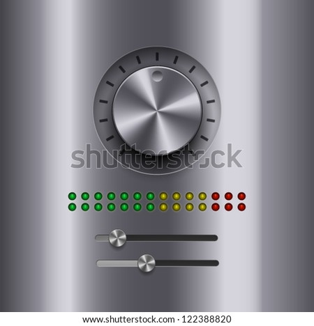 UI Kit Elements, Amplifier chrome knob - stock vector