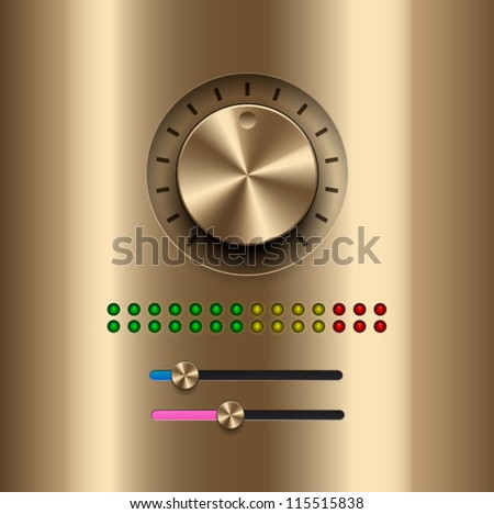 UI Kit Elements, Amplifier gold knob - stock vector