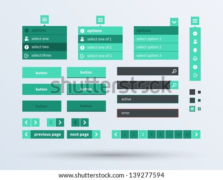 UI set of beautiful components featuring the flat design trend. Vector illustration. - stock vector
