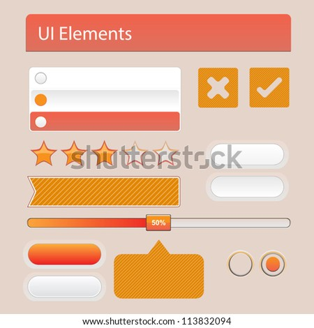 UI Web Elements: Buttons, Switchers - stock vector