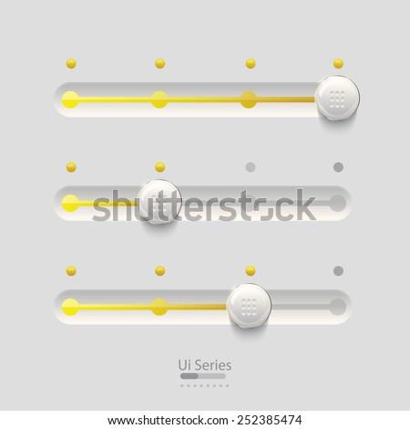 Ui yellow sliders set design. - stock vector