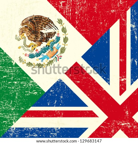 UK and Mexican grunge flag