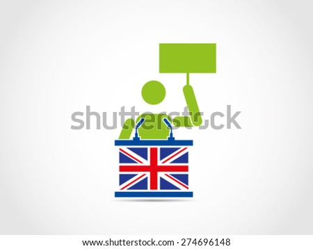 UK Britain Demonstration Aspirational Speech - stock vector