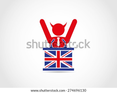 UK Britain Evil Corrupt Businessman Politician Policy Power Money Celebrating - stock vector